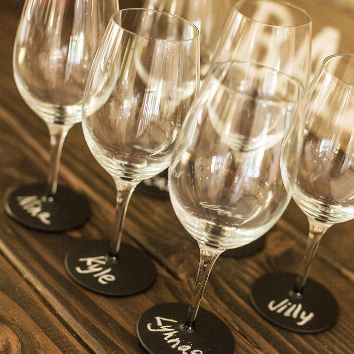 Labled wine glasses image