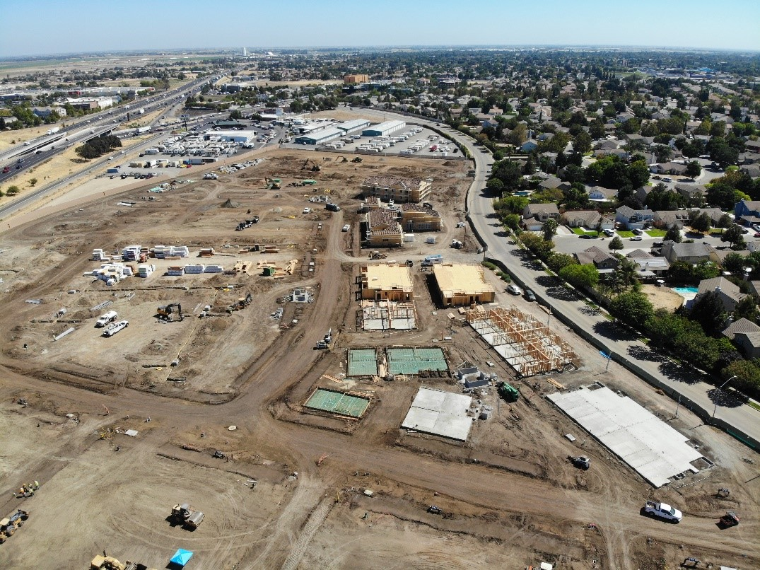 Drone footage from progress on Harvest in Tracy Apartments in 2019