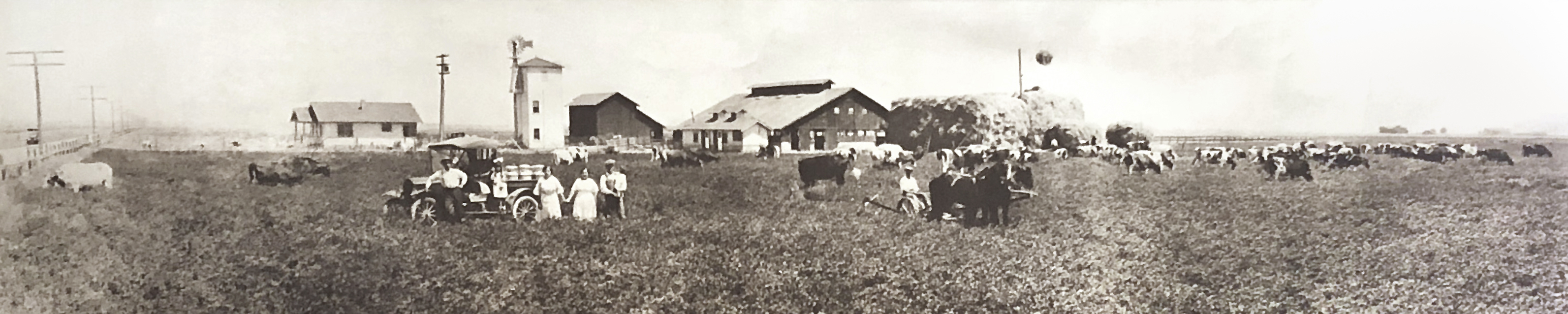 Old photo of Toste family on their dairy farm, pre-World War II